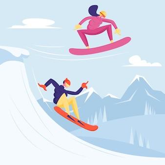 Jovens vestidos com roupas de inverno snowboarding