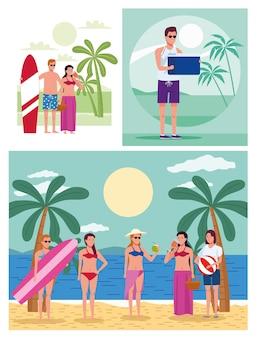 Jovens vestindo maiôs na praia personagens montam cenas