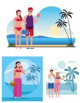 Jovens vestindo maiôs nas cenas da praia