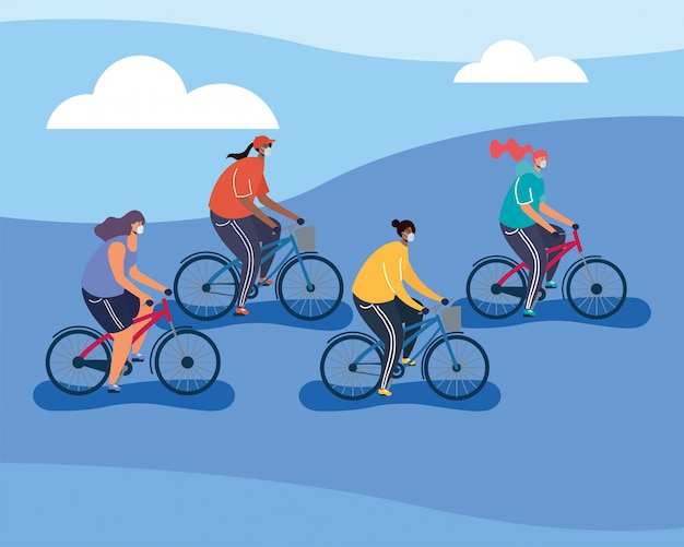 Jovens vestindo máscaras médicas em bicicletas