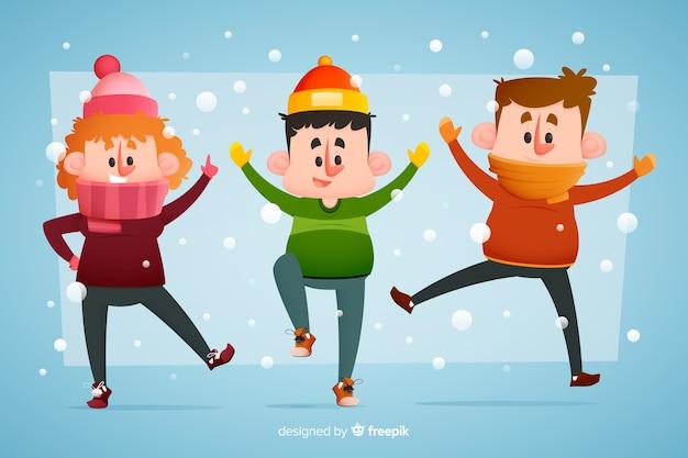 Jovens vestindo roupas de inverno pulando na neve