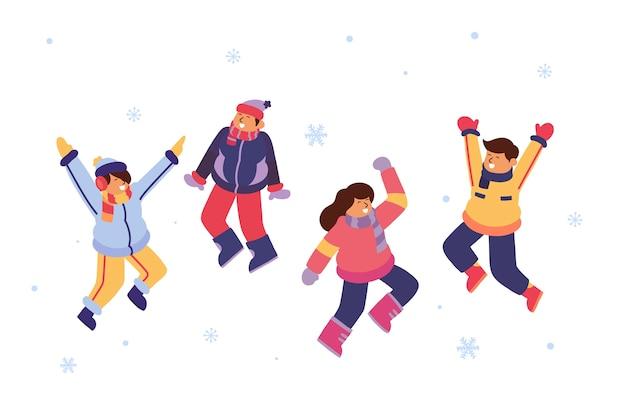 Jovens vestindo roupas de inverno pulando