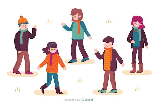 Jovens vestindo roupas de outono ilustração