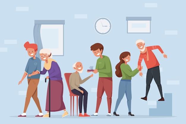 Jovens voluntários ajudando idosos