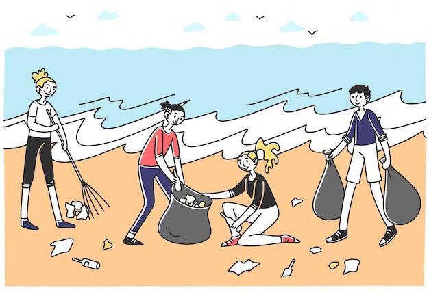 Jovens voluntários classificando lixo na praia