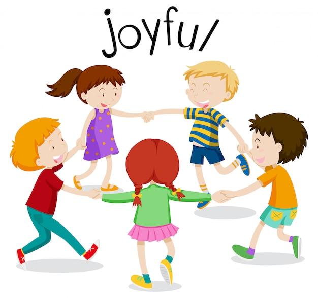 Joyful, crianças se divertindo de mãos dadas