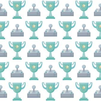 Joystick de videogame e padrão de pixel de troféu