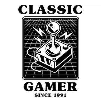 Joystick vintage da velha escola para jogar arcada de jogador de videogame clássico retrô.