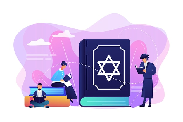 Judeus em trajes nacionais lendo sobre religião, torá, pessoas minúsculas. livro sagrado do judaísmo da torá, crenças judaicas sobre jesus, conceito do judaísmo ortodoxo.