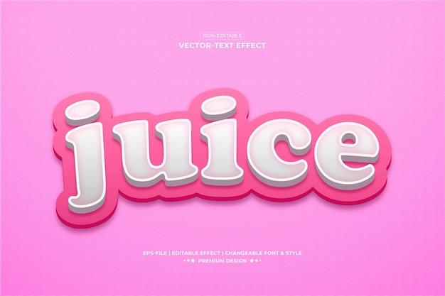 Juice 3d efeito de texto estilo vetor premium efeitos de fonte apresentação tipografia textura