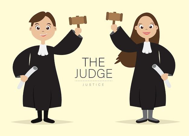Juiz cartoon character com segure o martelo para o juiz