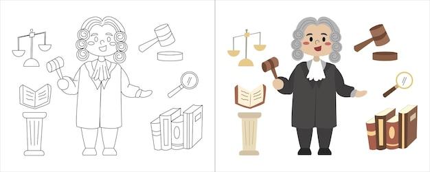 Juiz com ilustração de livro de colorir infantil e equipamento de trabalho
