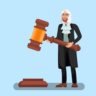 Juiz, em, peruca, segurando, grande, gavel