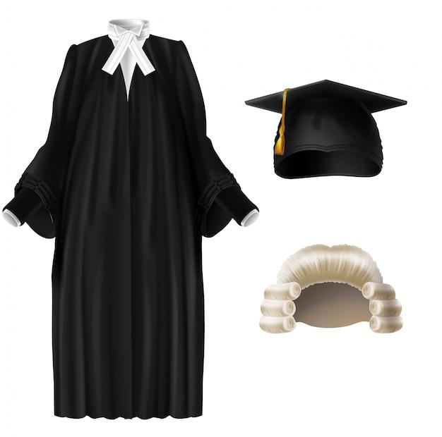 Juiz, professor universitário, roupa cerimonial de graduação de estudante