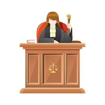 Juiz, sentado atrás do tribunal de mesa, segurando o martelo de madeira