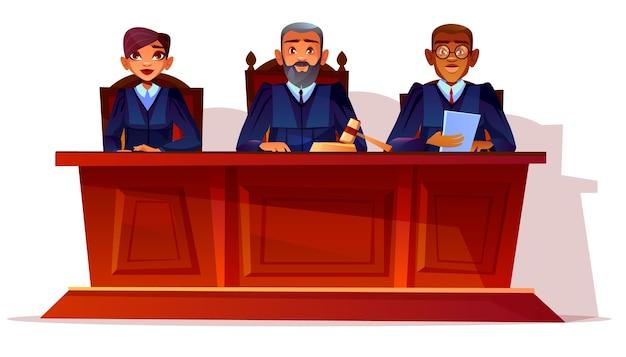 Juízes na ilustração de audiência do tribunal. procurador e secretária mulher ou assessor