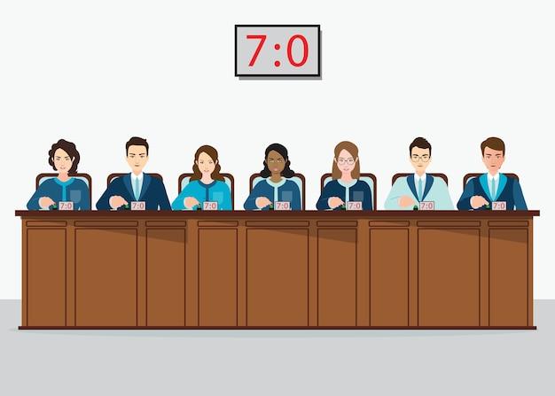 Juízes profissionais da competição com estimativas