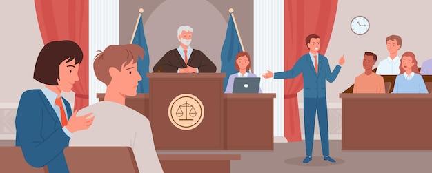 Julgamento do tribunal, conceito de justiça legal, advogado defensor de desenhos animados ou personagem do promotor