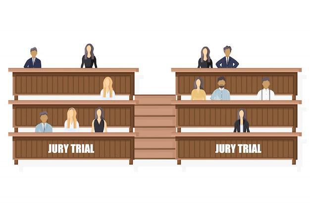 Julgamento julgamento estilo plano. modelo de folheto de ordem jurídica
