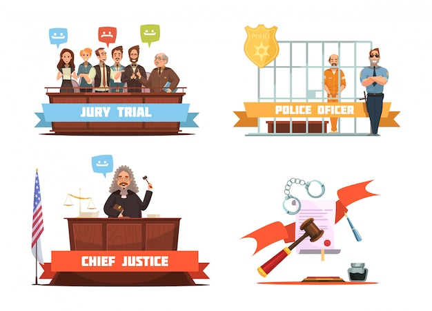 Julgamento penal júri veredicto e policial com suspeito 4 retro cartoon ícones composição isolat