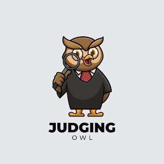 Julgando o design do logotipo da mascote do desenho animado da coruja