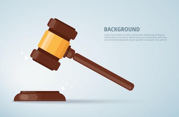 Julgue o fundo do martelo de madeira. conceito de justiça.