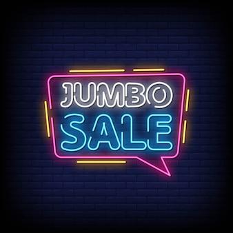 Jumbo venda sinais de néon estilo texto