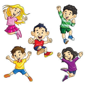 Jumping kids cartoon