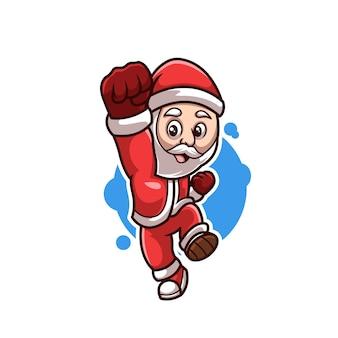 Jumping santa creative christmas cartoon mascote logo