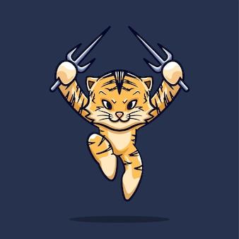 Jumping tiger ninja fácil editável