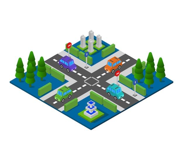 Junção de estrada isométrica