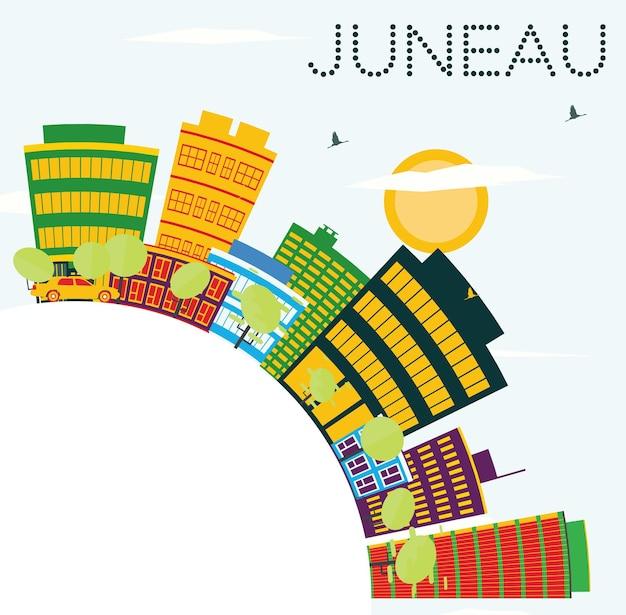 Juneau eua skyline com edifícios de cor, céu azul e espaço de cópia. ilustração vetorial. viagem de negócios e conceito de turismo. imagem para cartaz de banner de apresentação e site.