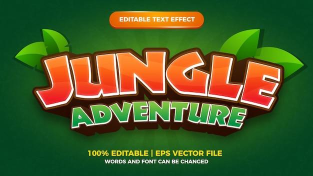 Jungle adventure editável com efeito de texto e estilo de jogo em quadrinhos de desenhos animados