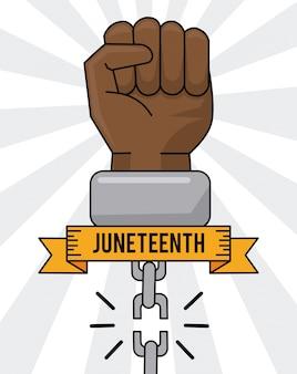 Junho, dia, mão, quebrada, cadeia, igualdade