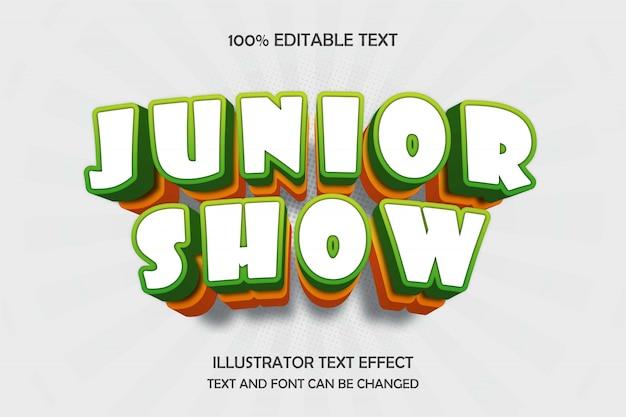 Junior show, 3d editável texto efeito verde amarelo sombra moderna estilo cômico