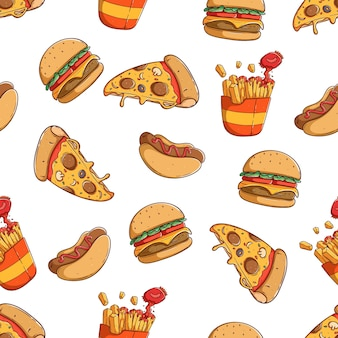 Junk food com hambúrguer de fatia de pizza e cachorro-quente em padrão uniforme