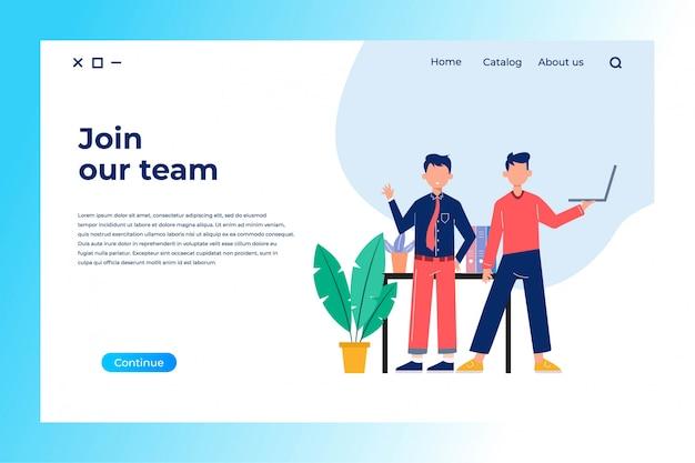 Juntar-se à equipe design de página de aterrissagem com ilustração plana