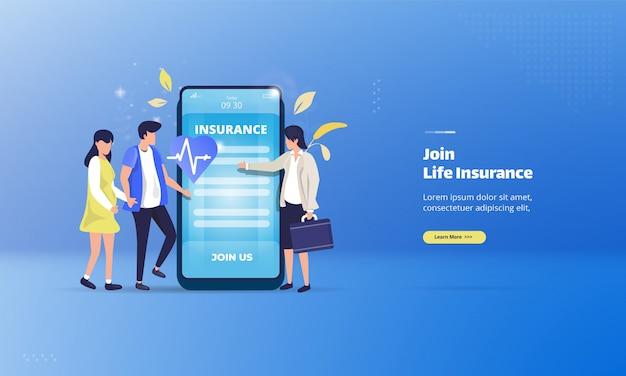 Juntar-se a um seguro de vida no conceito de ilustração