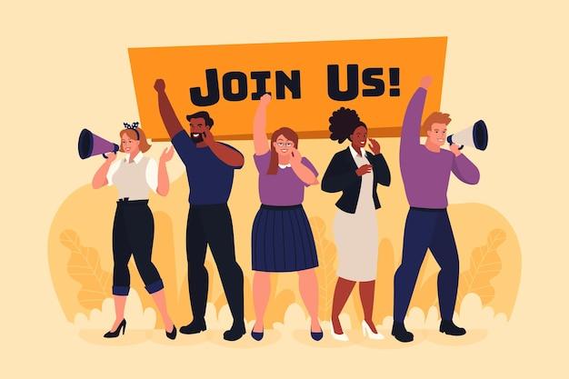 Junte-se a nós mensagem para emprego vago