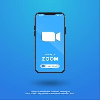 Junte-se a nós nas redes sociais de zoom no celular