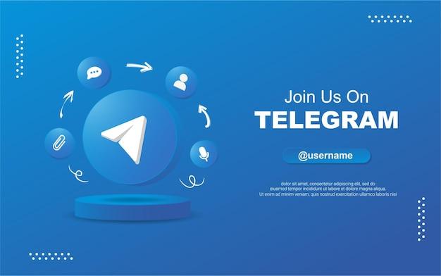 Junte-se a nós no telegrama para mídia social em ícones de notificação de círculo redondo 3d