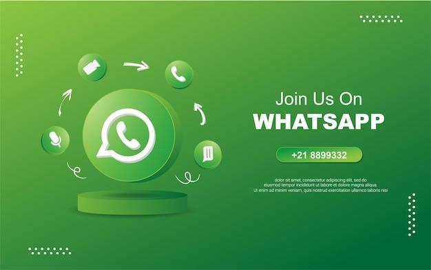Junte-se a nós no whatsap para mídia social em ícones de notificação de círculo redondo 3d