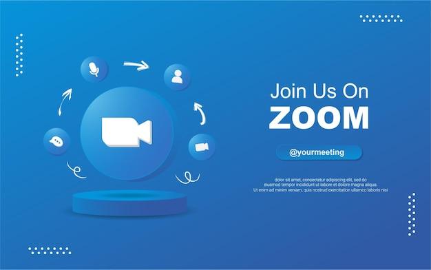 Junte-se a nós no zoom para mídia social em ícones de notificação de círculo redondo 3d