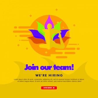 Junte-se a nossa equipe, estamos contratando, página de destino com modelo de tema de ioga