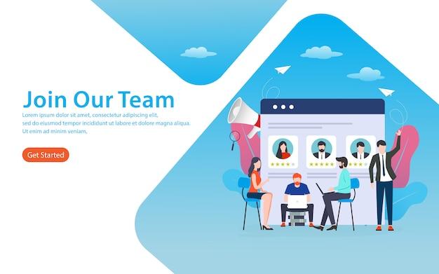 Junte-se à nossa página de destino da equipe