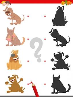 Junte-se ao jogo educativo das sombras para miúdos com cães
