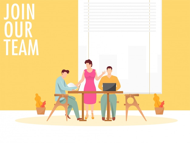 Junte-se ao nosso conceito de equipe com negócios homem e mulher trabalhando juntos no local de trabalho.