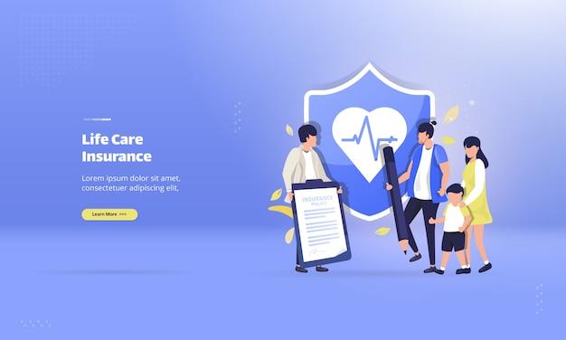 Junte-se ao seguro de cuidados de vida no conceito de ilustração