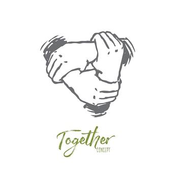 Juntos, ilustração desenhada à mão