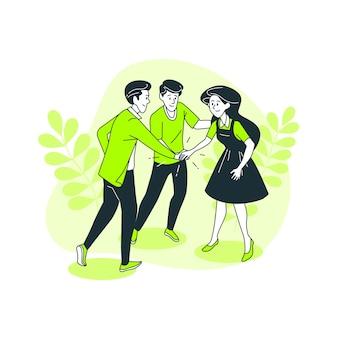 Juntos, ilustração do conceito